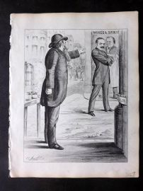 E. C. Mountfort - Dart 1880's Political Cartoon. Wines & Spirit. Liberal Club